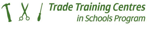 Logo showing hammer scissors and screw driver and the trade training centres in schools program in writing.