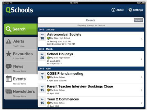 Photo of Events listing on QSchools app on mobile device.